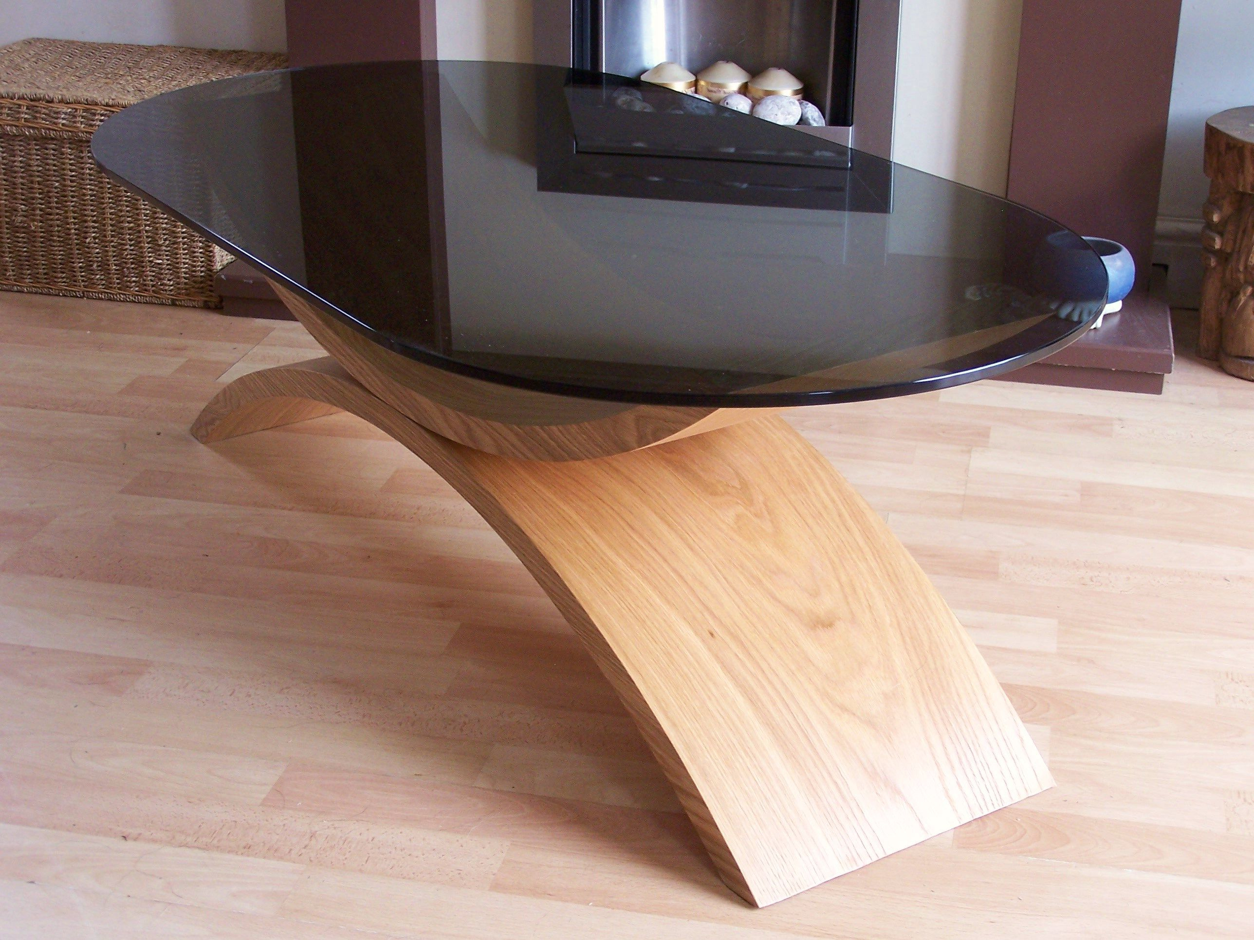 Curved Wood Coffee Table. Contemporary Design. Smoked Glass Top Pertaining To Newest Contemporary Curves Coffee Tables (Gallery 16 of 20)
