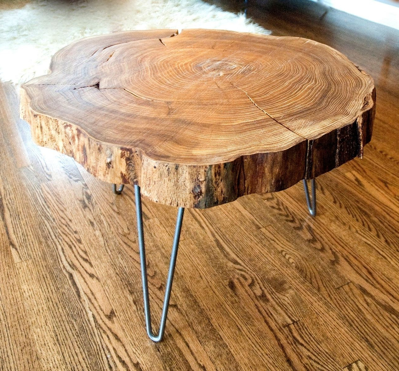 Custom Made Natural Live Edge Round Slab Side Table / Coffee Table Inside Most Current Live Edge Teak Coffee Tables (Gallery 15 of 20)