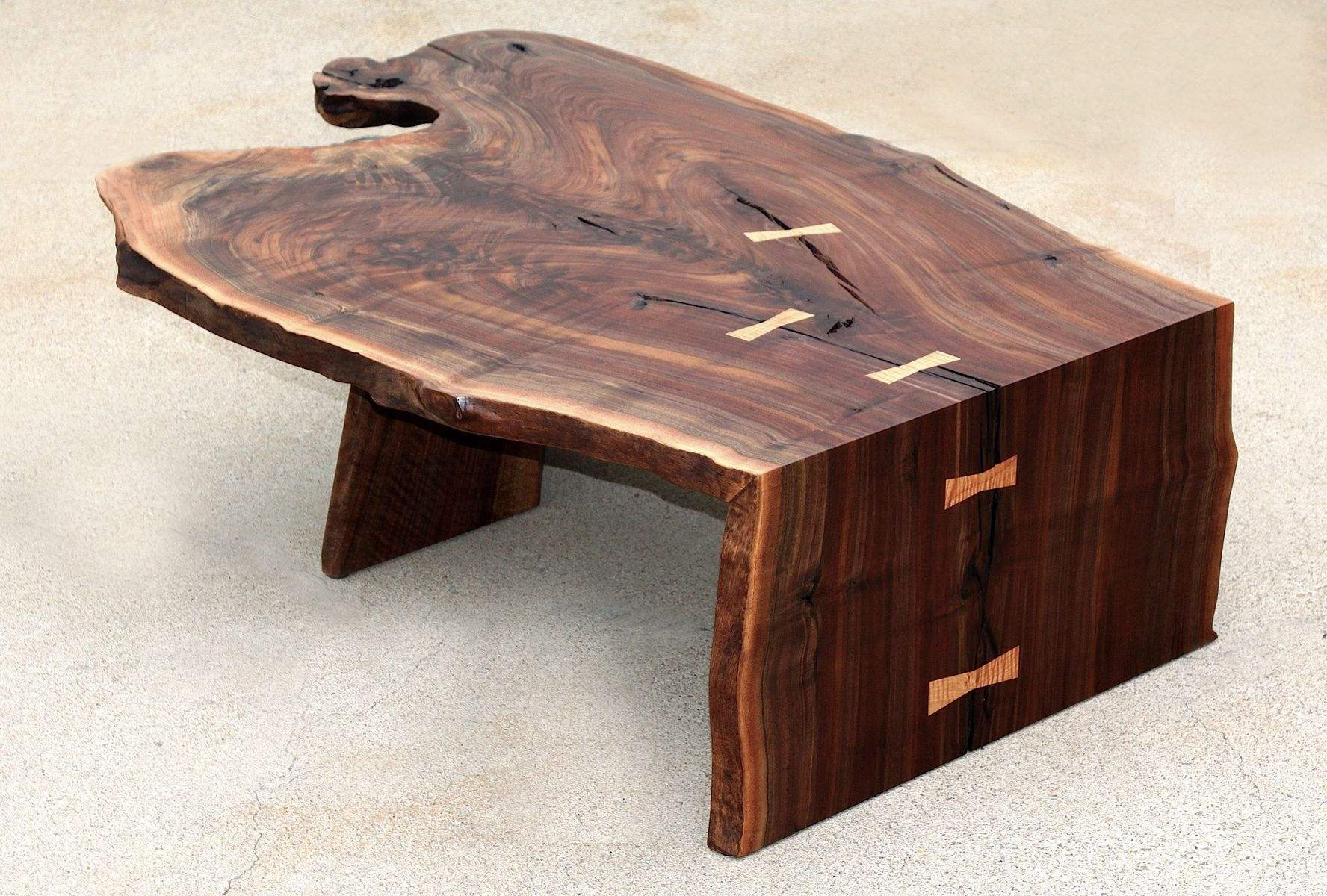 Custom Modern Coffee/cocktail Table, Waterfall, Walnutaaron Throughout Popular Waterfall Coffee Tables (View 13 of 20)