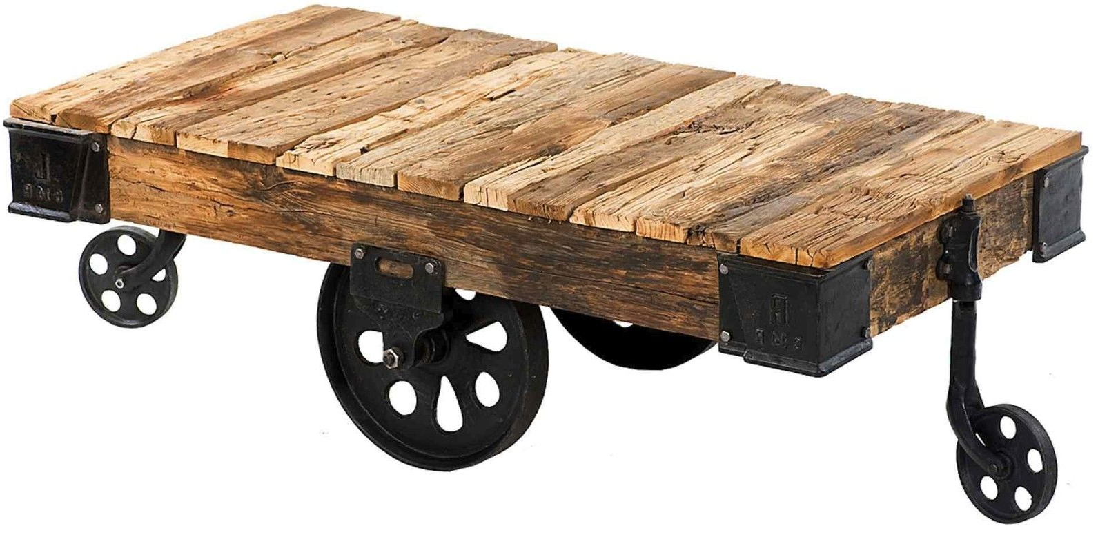 Custom Reproduction Industrial Factory Cart Coffee Tablemortise Throughout Most Recent Natural Wheel Coffee Tables (Gallery 6 of 20)
