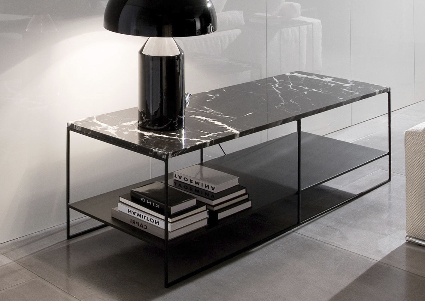 Dark Smoked Oak With White Marble Top Sideboards Inside Well Known Contemporary Sideboard Table / Marble / Oak / Iron – Calder – Minotti (View 4 of 20)