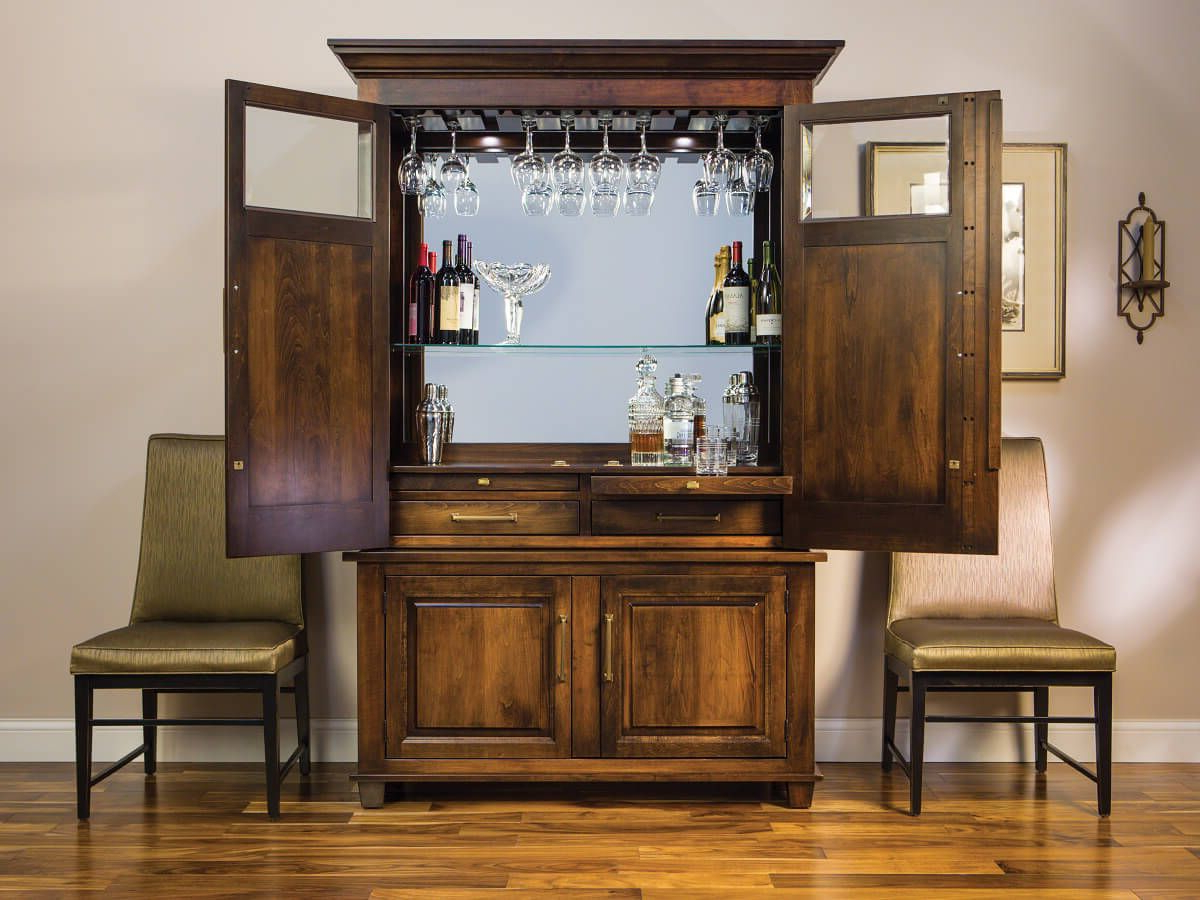 Deleven Hardwood Bar And Wine Cabinet – Countryside Amish Furniture Intended For Most Current Leven Wine Sideboards (Gallery 3 of 20)