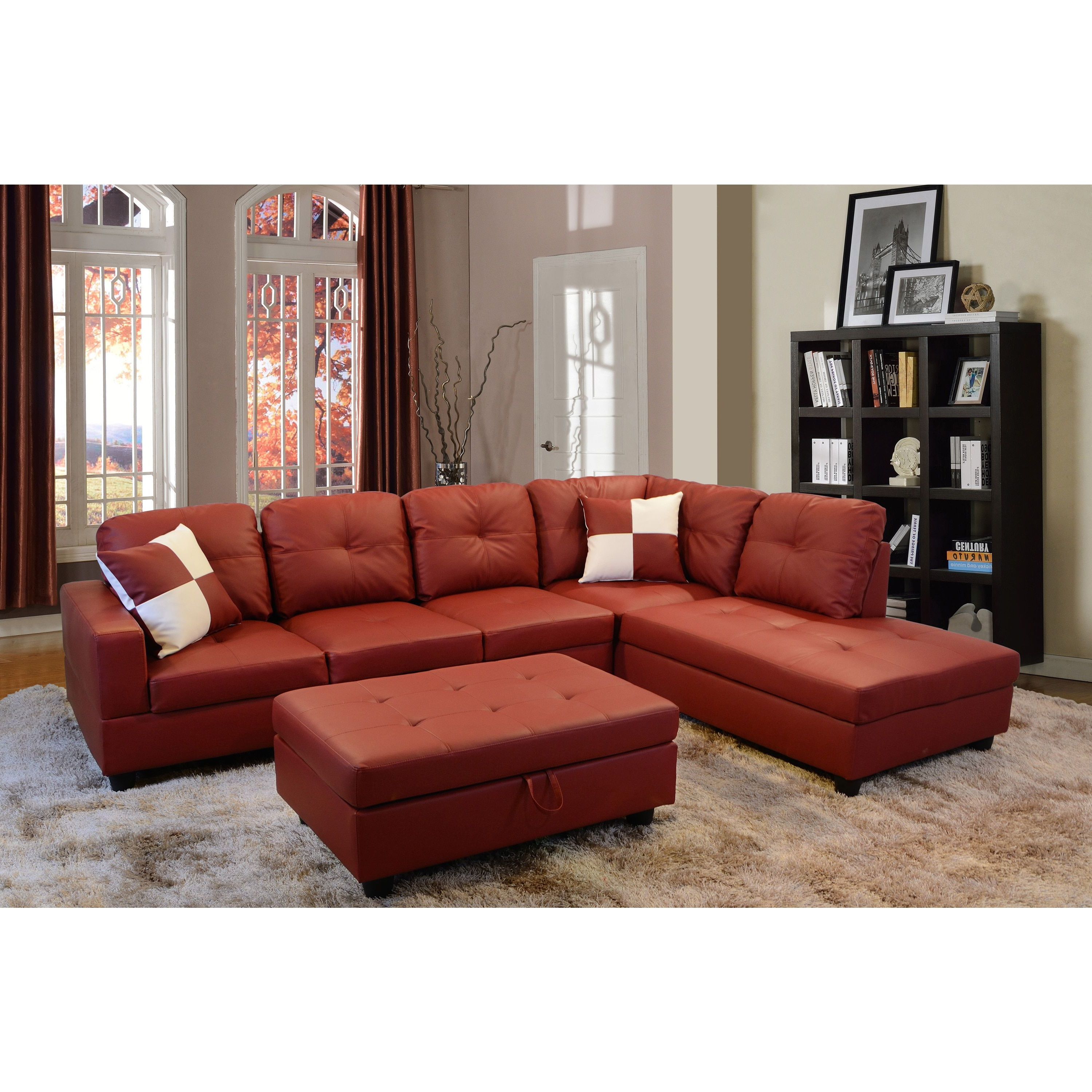 Delma 3 Piece Red Faux Leather Furniture Set (Delma 3 Pc Faux Pertaining To Fashionable Tenny Dark Grey 2 Piece Right Facing Chaise Sectionals With 2 Headrest (Gallery 11 of 20)