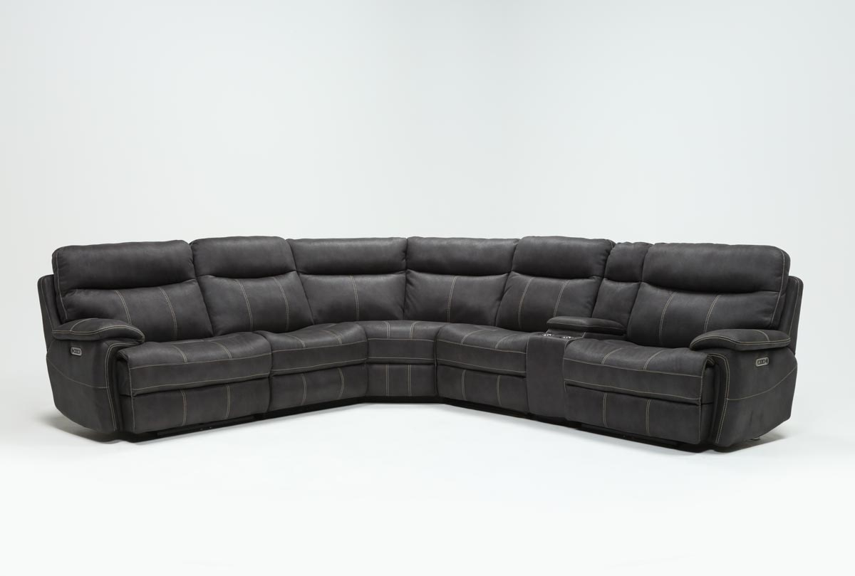 Denali Charcoal Grey 6 Piece Reclining Sectional W/2 Power Headrests Throughout Trendy Denali Light Grey 6 Piece Reclining Sectionals With 2 Power Headrests (Gallery 1 of 20)