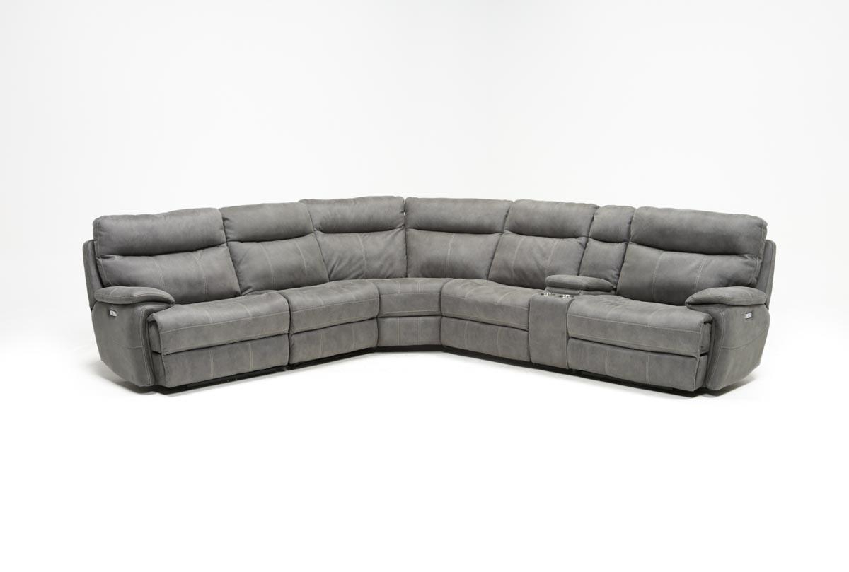 Denali Light Grey 6 Piece Reclining Sectionals With 2 Power Headrests Regarding Most Recent Denali Light Grey 6 Piece Reclining Sectional W/2 Power Headrests (View 9 of 20)