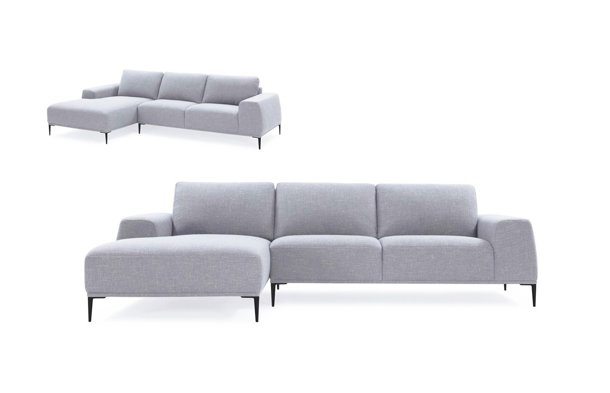 Divani Casa Arthur Modern Grey Fabric Sectional Sofa W/ Right Facing With Favorite Norfolk Grey 3 Piece Sectionals With Laf Chaise (View 5 of 20)