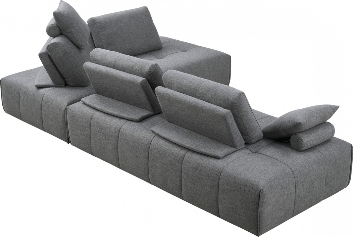 Divani Casa Edgar Modern Grey Fabric Modular Sectional Sofa – Sofas Regarding Well Known Norfolk Grey 3 Piece Sectionals With Laf Chaise (View 3 of 20)