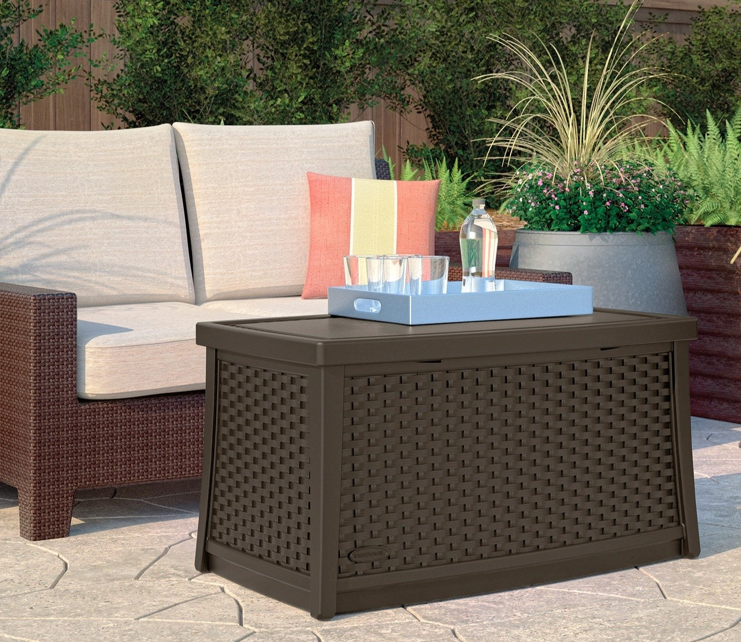 Donnell Coffee Tables Within Most Recent Suncast Wicker Coffee Table With Storage – Gardensite.co (View 19 of 20)
