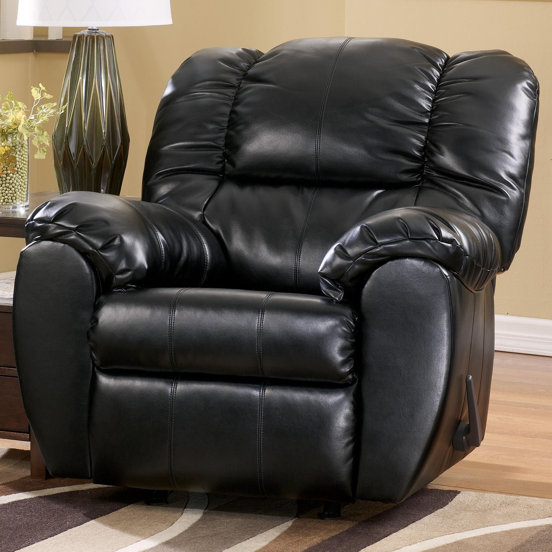 Dylan Durablend – Onyx Bonded Leather Match Rocker Recliner Pertaining To Current Declan 3 Piece Power Reclining Sectionals With Left Facing Console Loveseat (View 8 of 20)