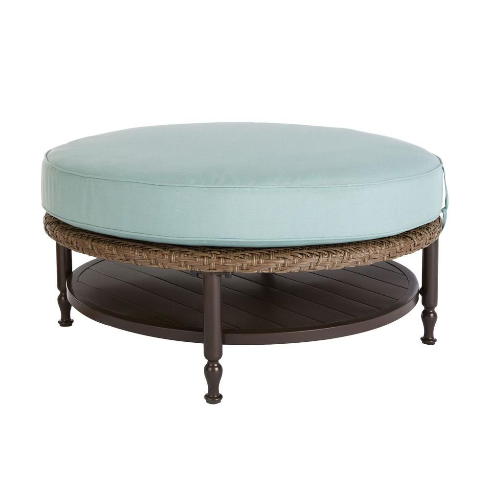 Elba Ottoman Coffee Tables Throughout 2018 Home Decorators Collection Bolingbrook Round Patio Ottoman/coffee (View 9 of 20)