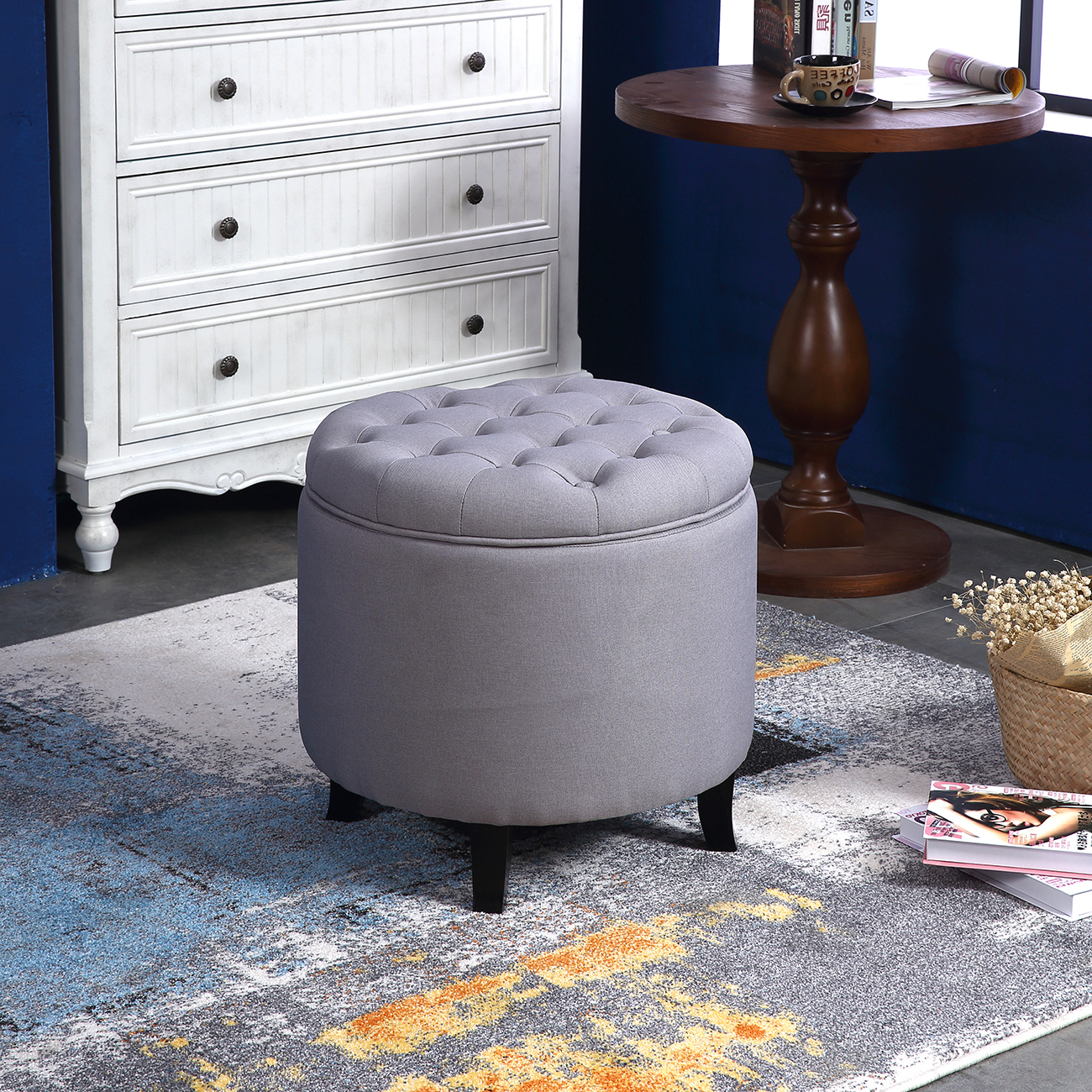 Elegant Fabric Tufted Button Ottoman Round Footstool Coffee Table Regarding Well Known Round Button Tufted Coffee Tables (Gallery 13 of 20)
