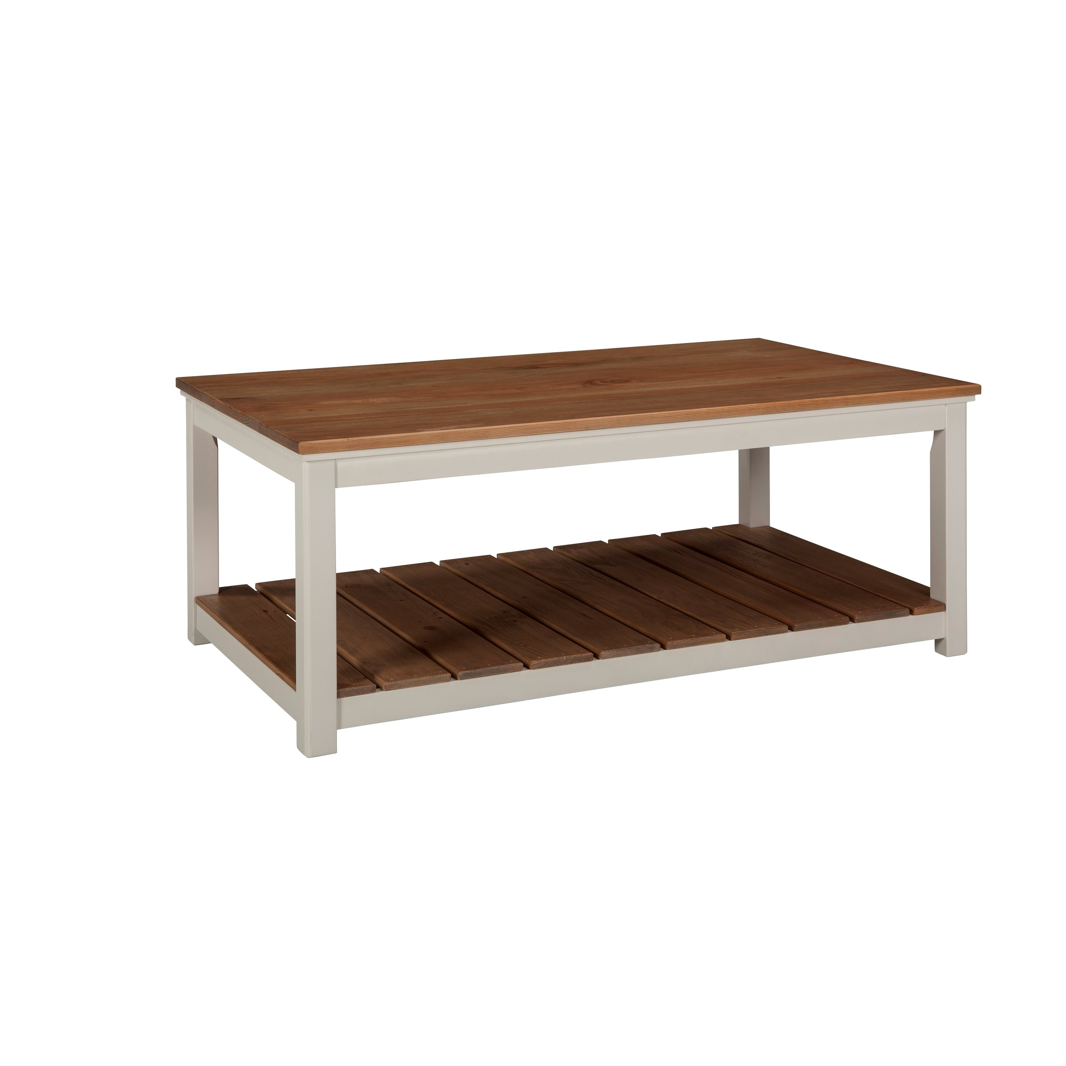 """Element Ivory Rectangular Coffee Tables Pertaining To 2018 Shop Savannah 45""""w Coffee Table, Ivory With Natural Wood Top – On (View 4 of 20)"""