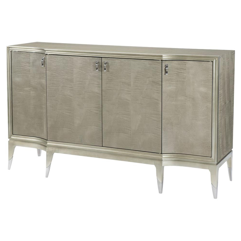 Famous 4 Door/4 Drawer Metal Inserts Sideboards Pertaining To Miranda Modern Classic Silver Leaf 4 Door Sideboard (View 3 of 20)