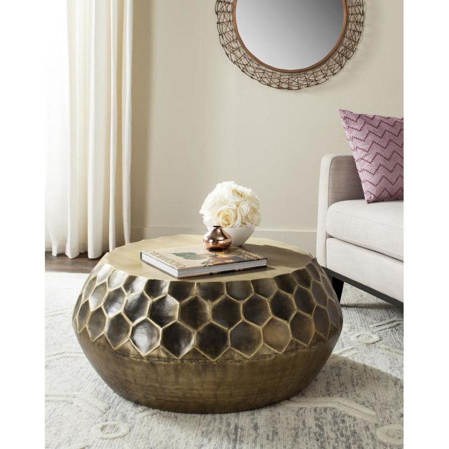 Famous Antique Brass Coffee Tables Within Shop Safavieh Roxanna Antique Brass Metal Round Coffee Table At (View 10 of 20)