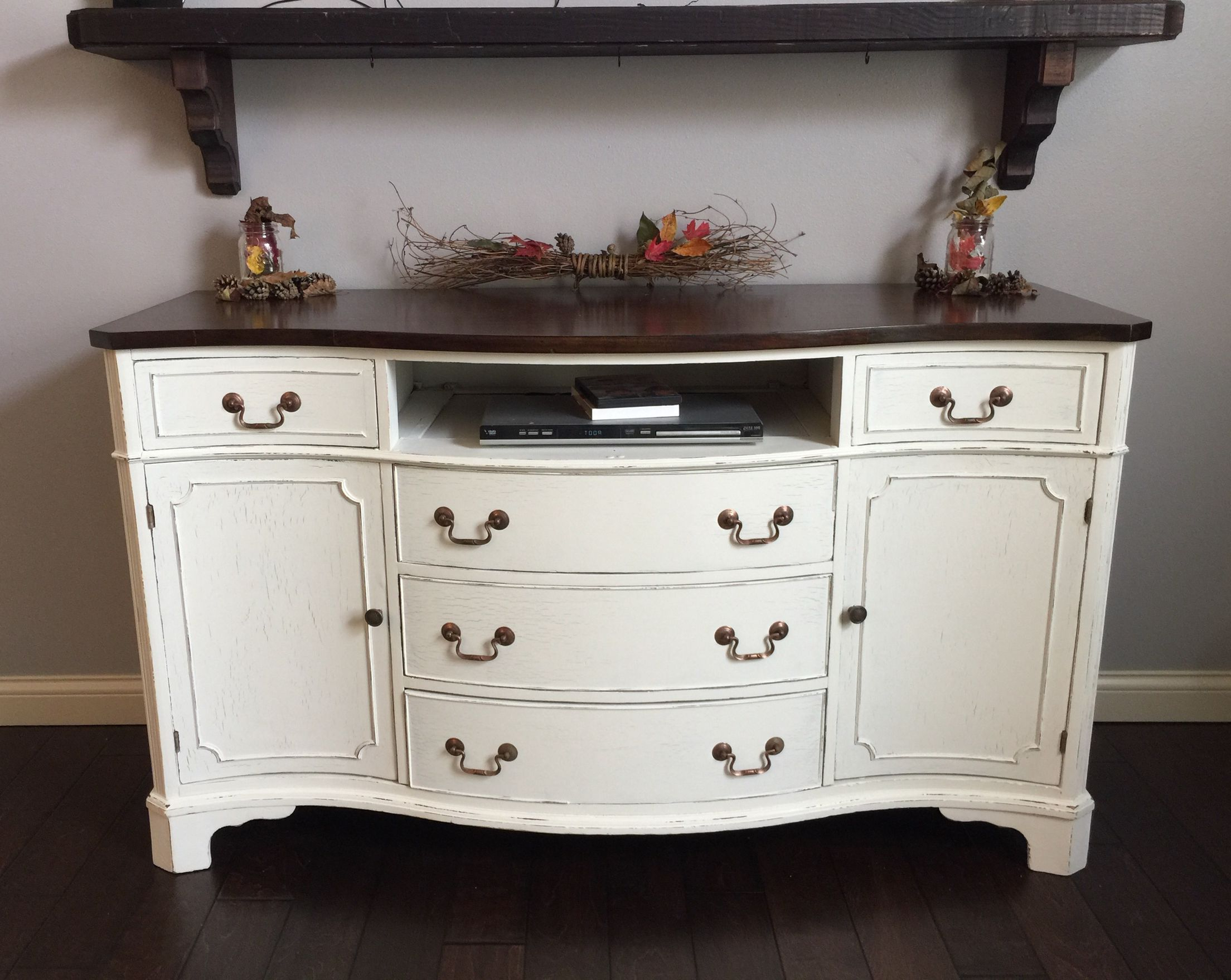 Famous Antique Buffet / Sideboard Lightly Distressed. Her Dainties Valspar With Satin Black & Painted White Sideboards (Gallery 2 of 20)