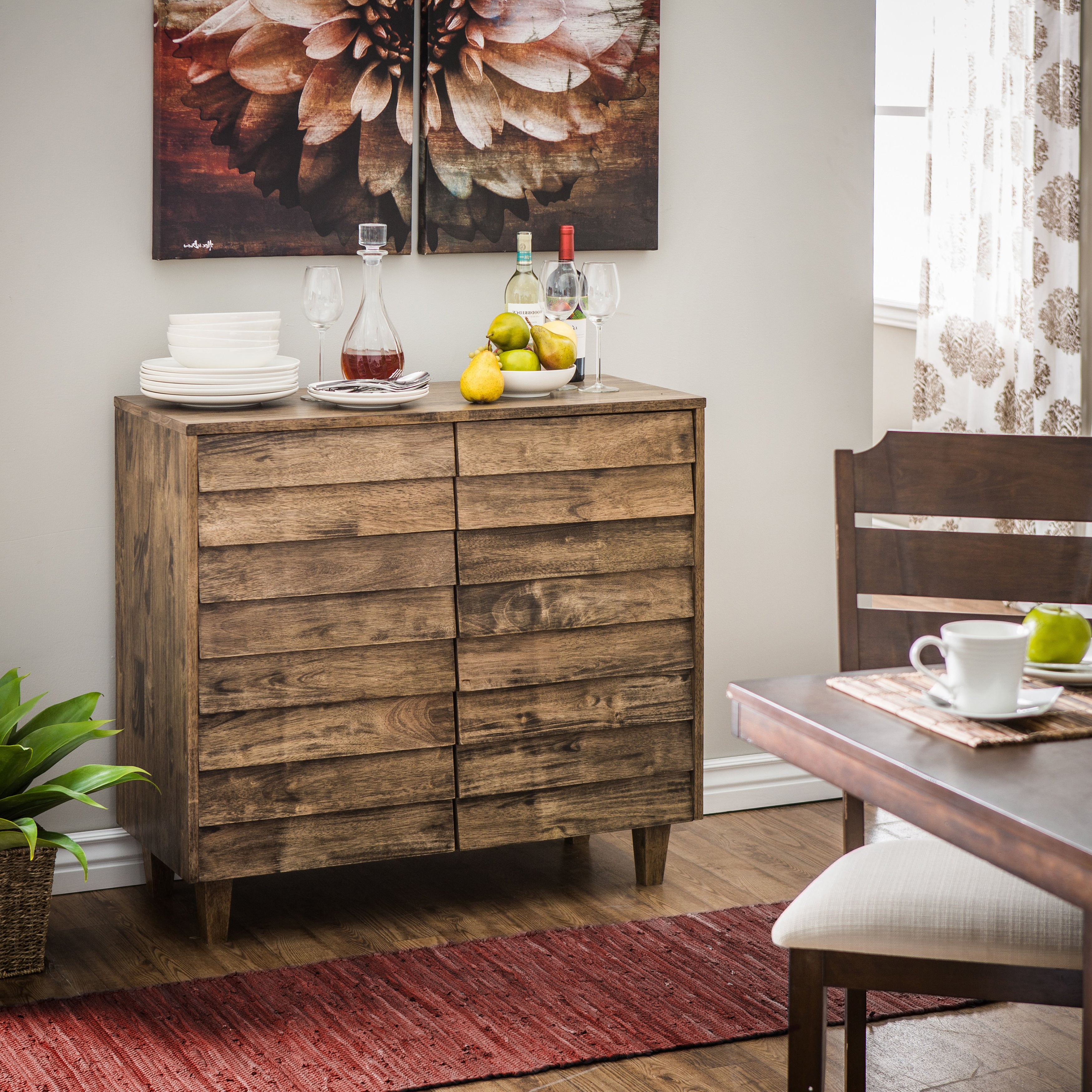 Famous Burn Tan Finish 2 Door Sideboards For Shop Stones & Stripes Venetian Brown/grey Buffet – Free Shipping (View 16 of 20)