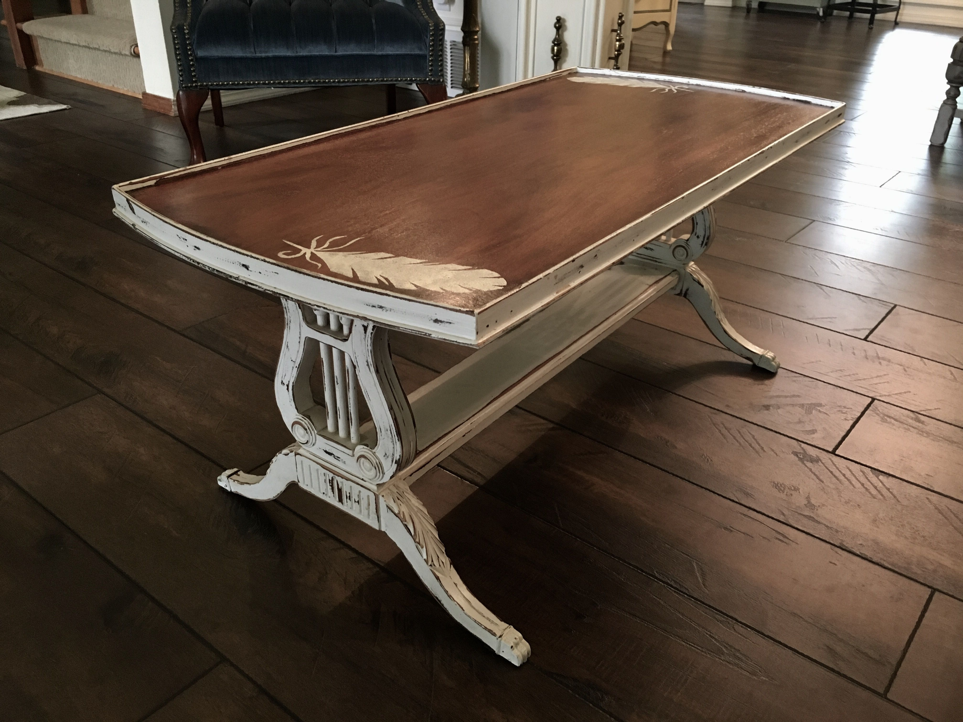 Famous Coffee Table With Lyre Base And Some Feather Stencils, Top Is Inside Lyre Coffee Tables (View 14 of 20)