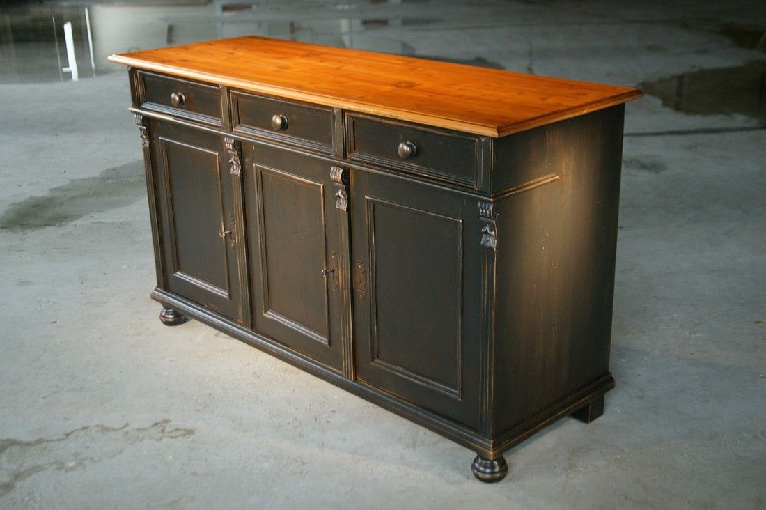 Famous Custom Made Black Kitchen Island From Reclaimed Pine Sideboard In Reclaimed Pine 4 Door Sideboards (View 19 of 20)