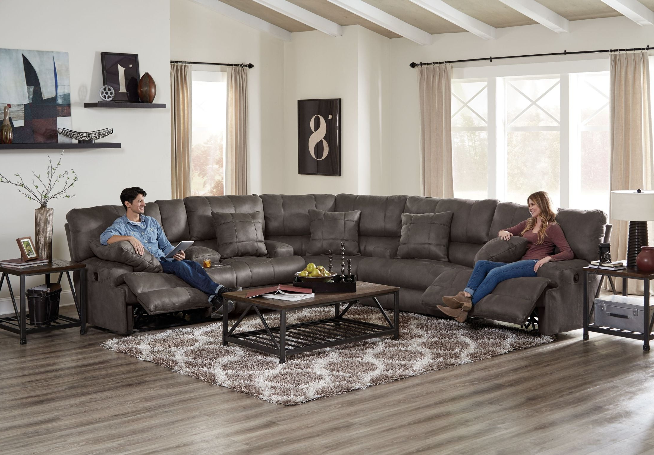 Famous Denali Charcoal Grey 6 Piece Reclining Sectionals With 2 Power Headrests Within Catnapper Monaco Dark Charcoal Lay Flat Power Reclining Sectional (View 20 of 20)