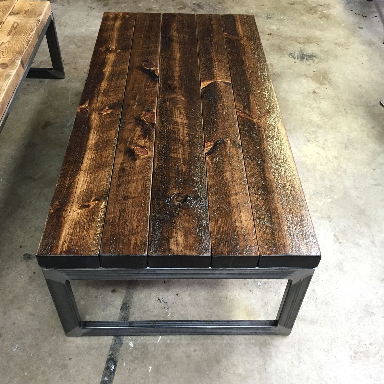 Famous Handmade Solid Coffee Table With Rough Cut Pine Stained In Black Intended For Recycled Pine Stone Side Tables (View 11 of 20)