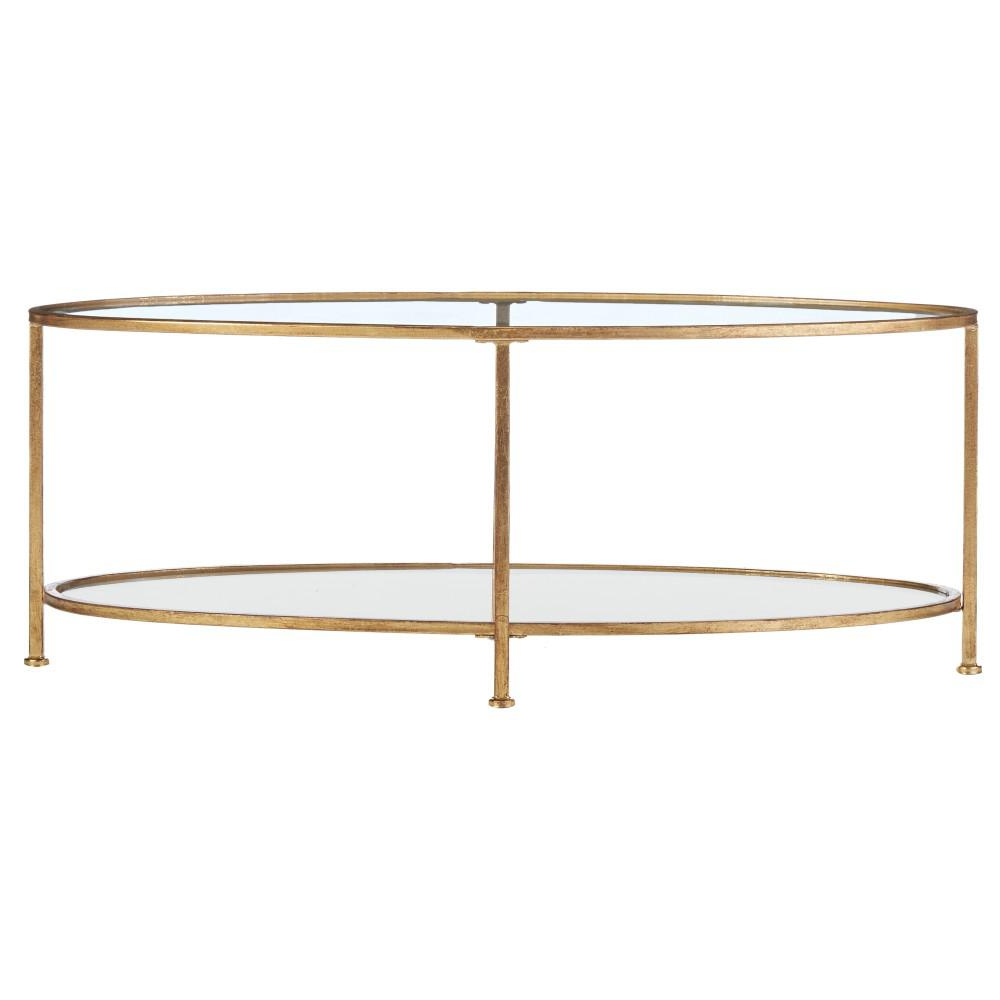 Famous Home Decorators Collection Bella Aged Gold Oval Glass Coffee Table Throughout Rectangular Brass Finish And Glass Coffee Tables (View 6 of 20)