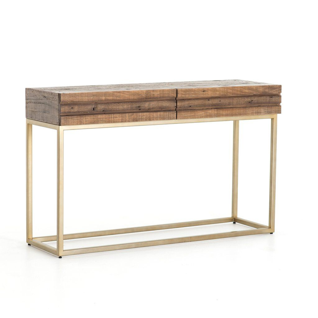 Famous Intertwine Triangle Marble Coffee Tables Intended For Tiller Console Table In Brass (View 12 of 20)