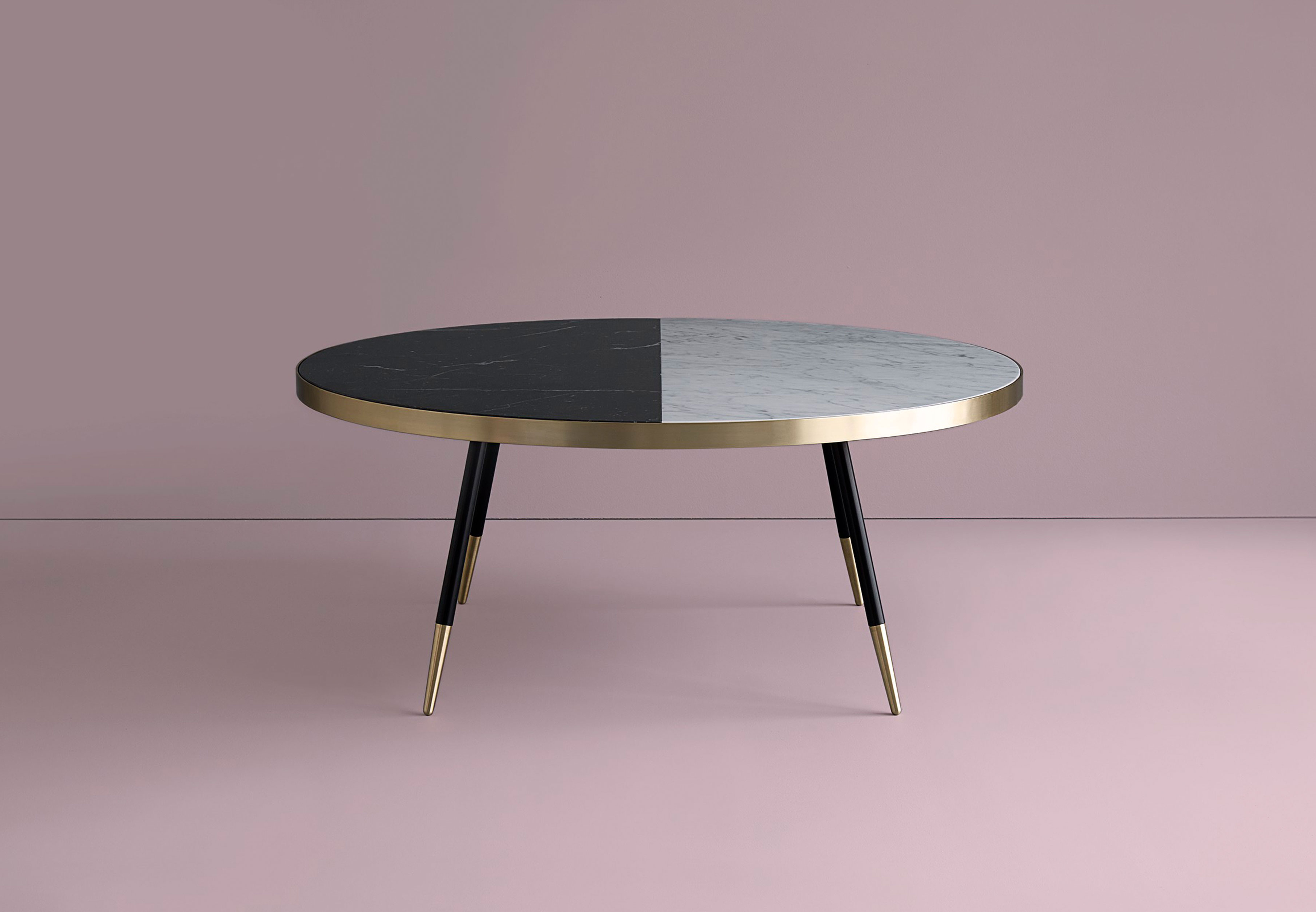 Famous Marble Coffee Tables In Band Marble Two Tone Coffee Table (View 20 of 20)
