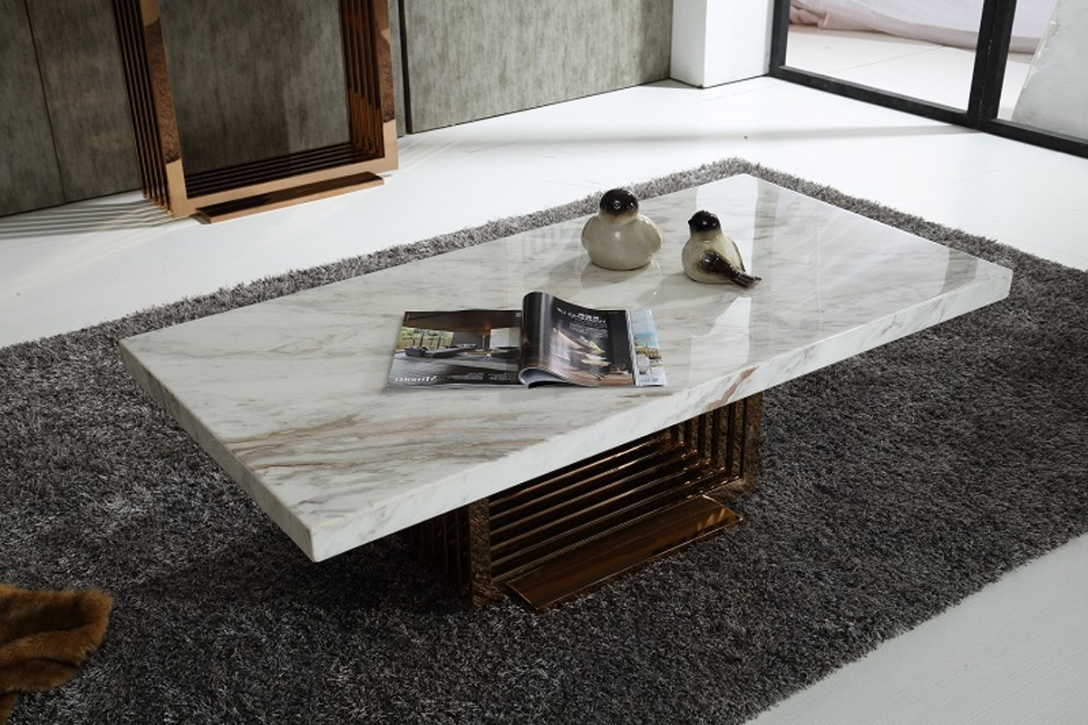 Famous Modern Marble Top And Rosegold Base Coffee Table Fort Worth Texas With 2 Tone Grey And White Marble Coffee Tables (Gallery 9 of 20)