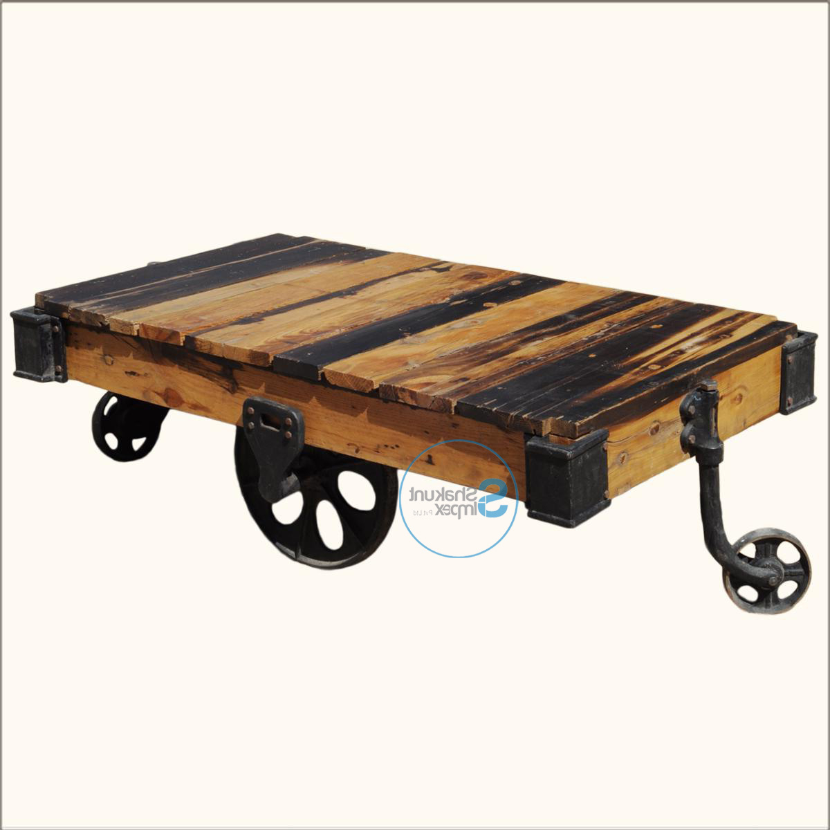 Famous Natural Wheel Coffee Tables For Reclaimed Wood Pallet Industrial Coffee Table On Wheels – Shakunt (View 4 of 20)
