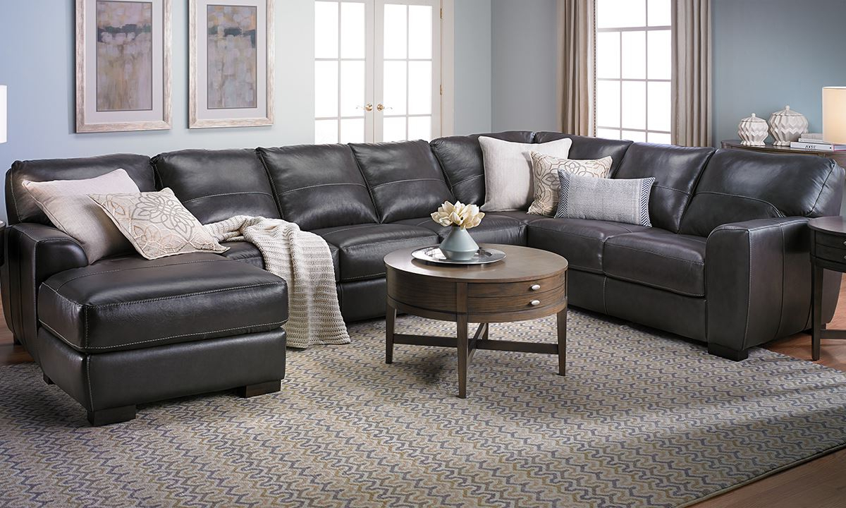 Famous Norfolk Grey 3 Piece Sectionals With Laf Chaise Regarding Malcolm Italian Leather Sectional With Chaise (View 5 of 20)