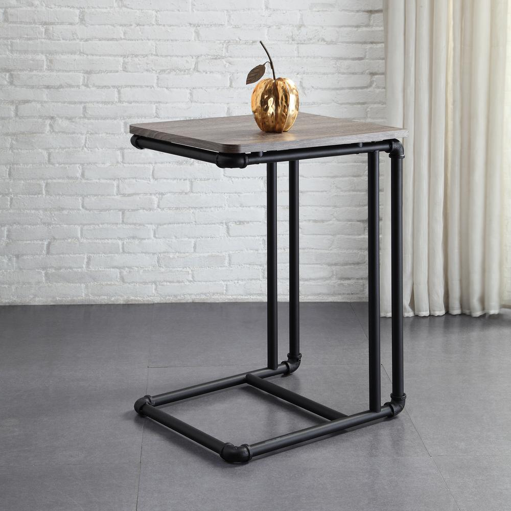 Famous Pine Metal Tube Coffee Tables Regarding Neu Home Manchester Industrial Gray And Black Industrial Pipe Side (View 11 of 20)
