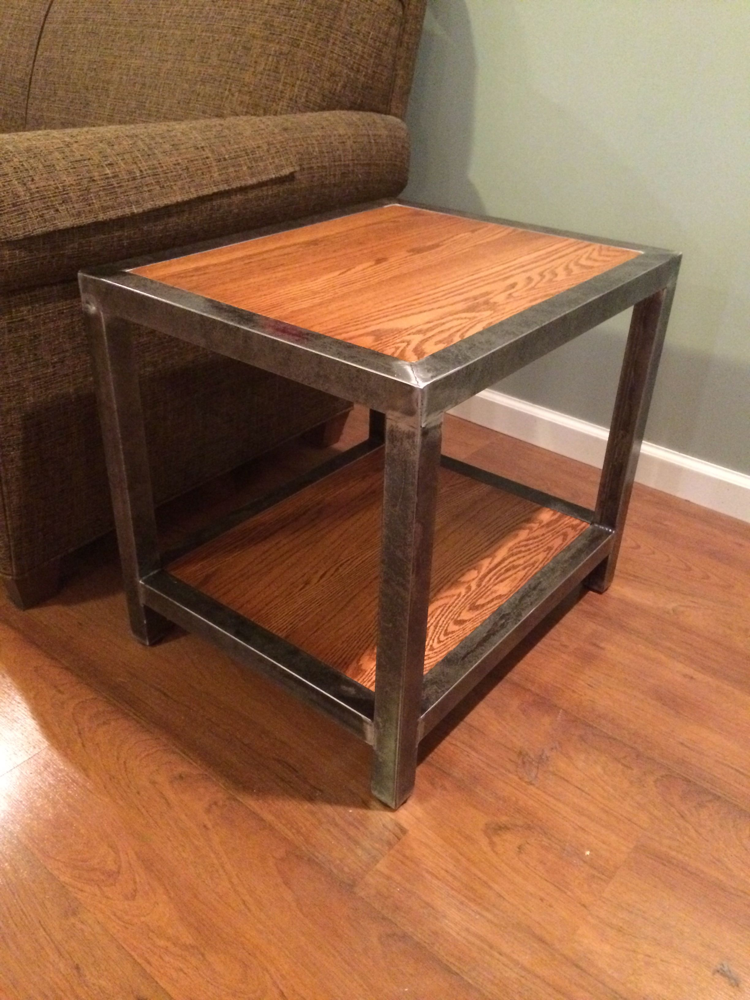 "Famous Pine Metal Tube Coffee Tables Throughout Welded End Table. 1 1/2 Square Tubing And 3/4"" Red Oak (View 3 of 20)"