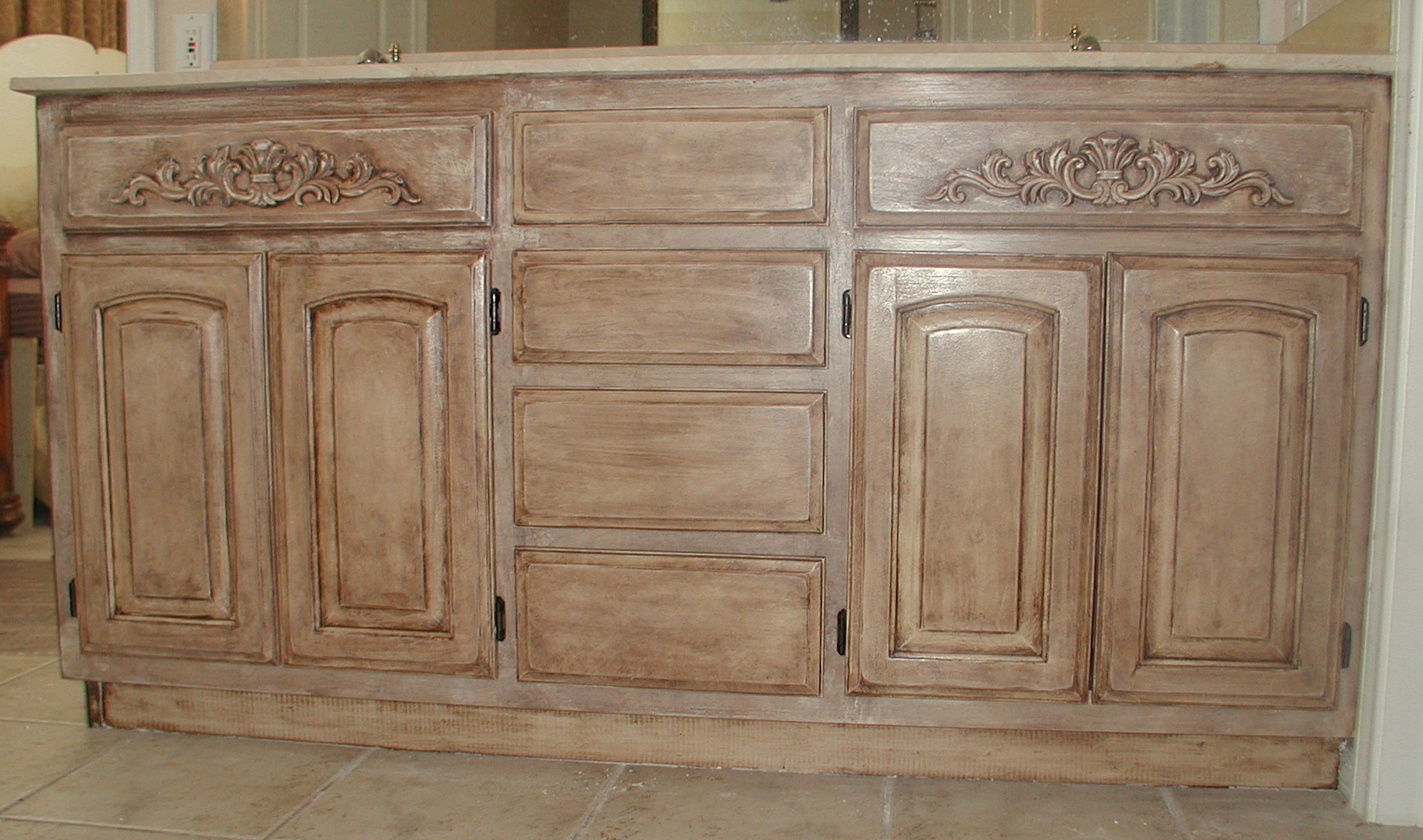 Famous Project: Transforming Builder Grade Cabinets To Old World (Ascp Old Intended For White Wash Carved Door Jumbo Sideboards (View 2 of 20)
