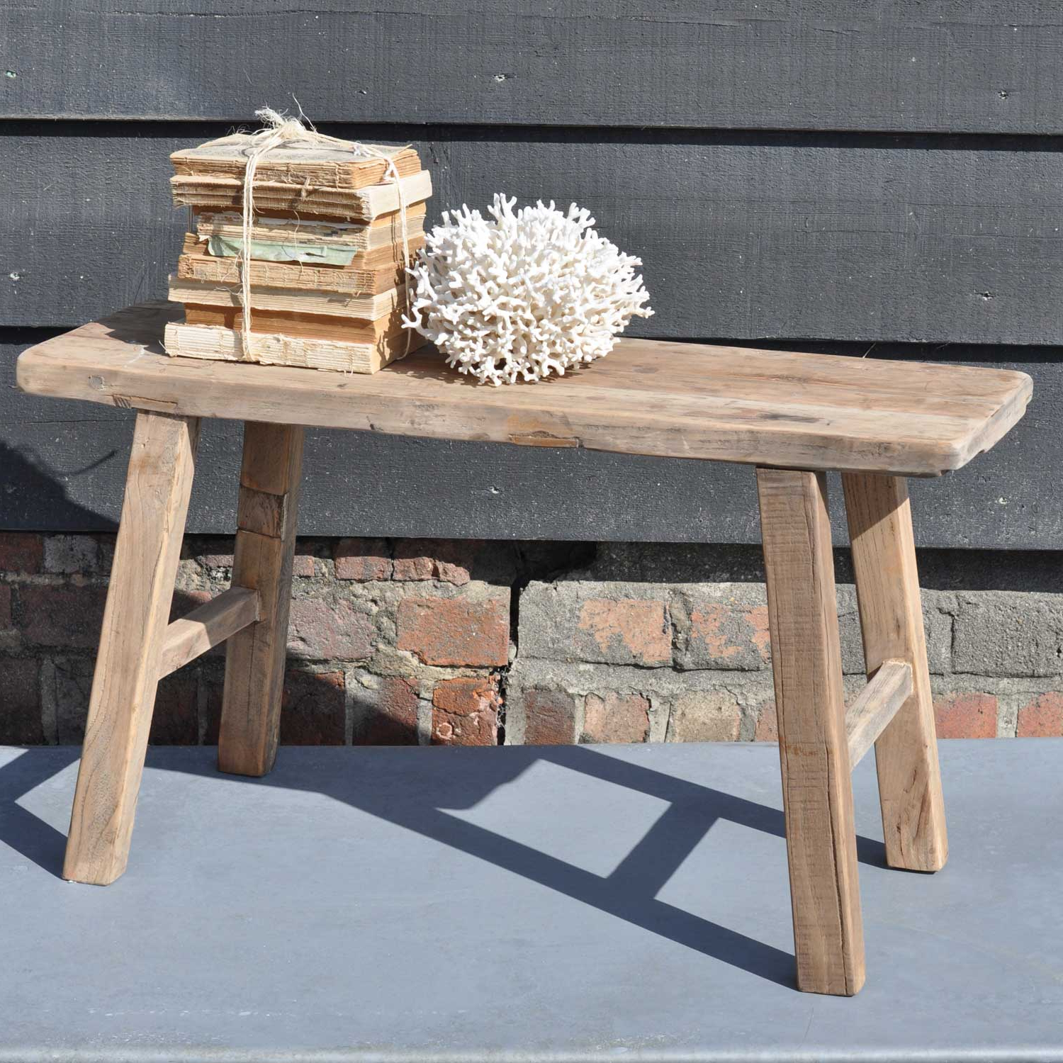 Famous Reclaimed Elm Cast Iron Coffee Tables Intended For Reclaimed Small Rustic Trestle Bench In Solid Elm (View 10 of 20)
