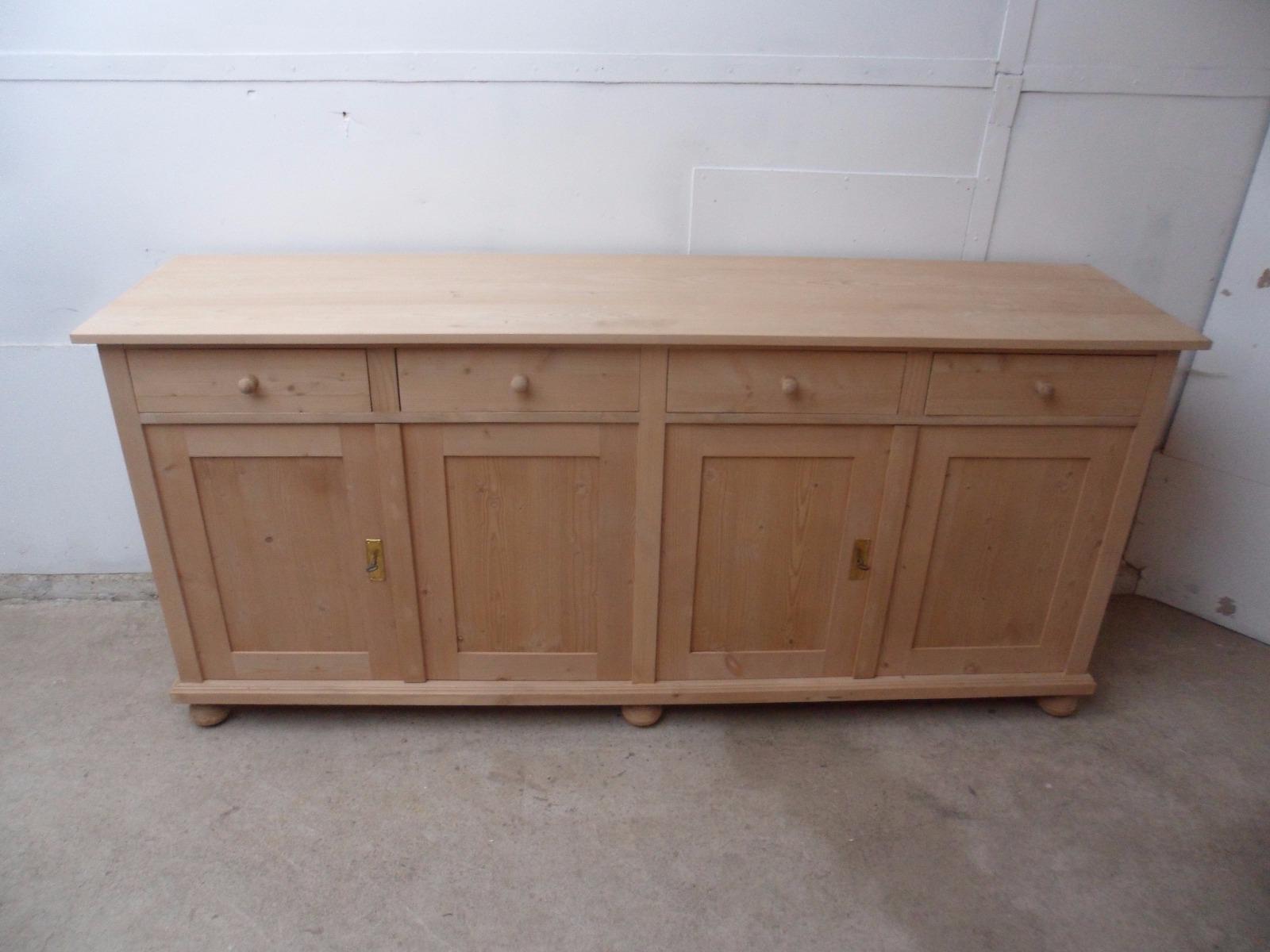 Famous Reclaimed Pine 4 Door Sideboards With Regard To Super 2 Metre Reclaimed Pine 4 Door Kitchen Dresser Base To Wax (View 10 of 20)