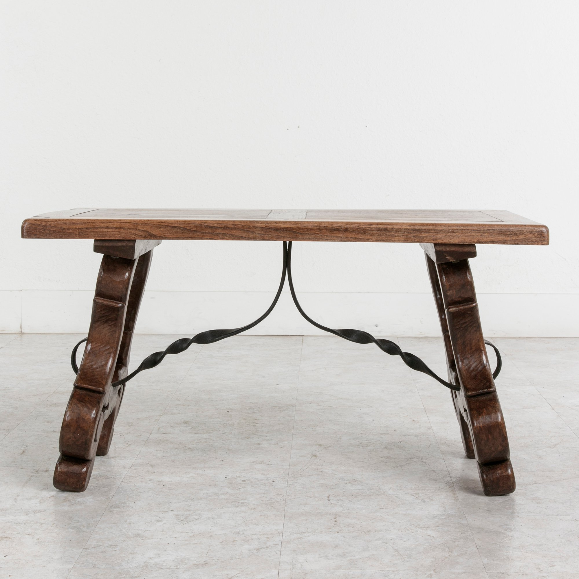 Famous Spanish Coffee Tables Intended For Early 20Th Century Spanish Style Oak Coffee Table Or Bench With Iron (View 6 of 20)