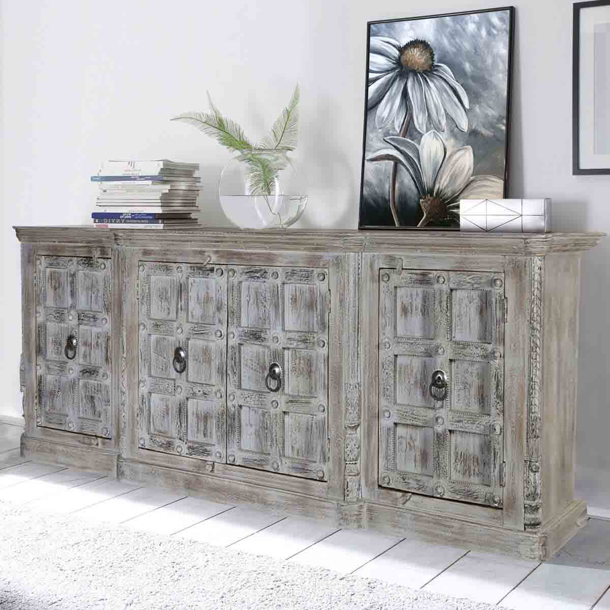 Famous Vintage Finish 4 Door Sideboards Pertaining To Palazzo Distressed Handcrafted 4 Door Large Rustic Buffet Cabinet (Gallery 12 of 20)