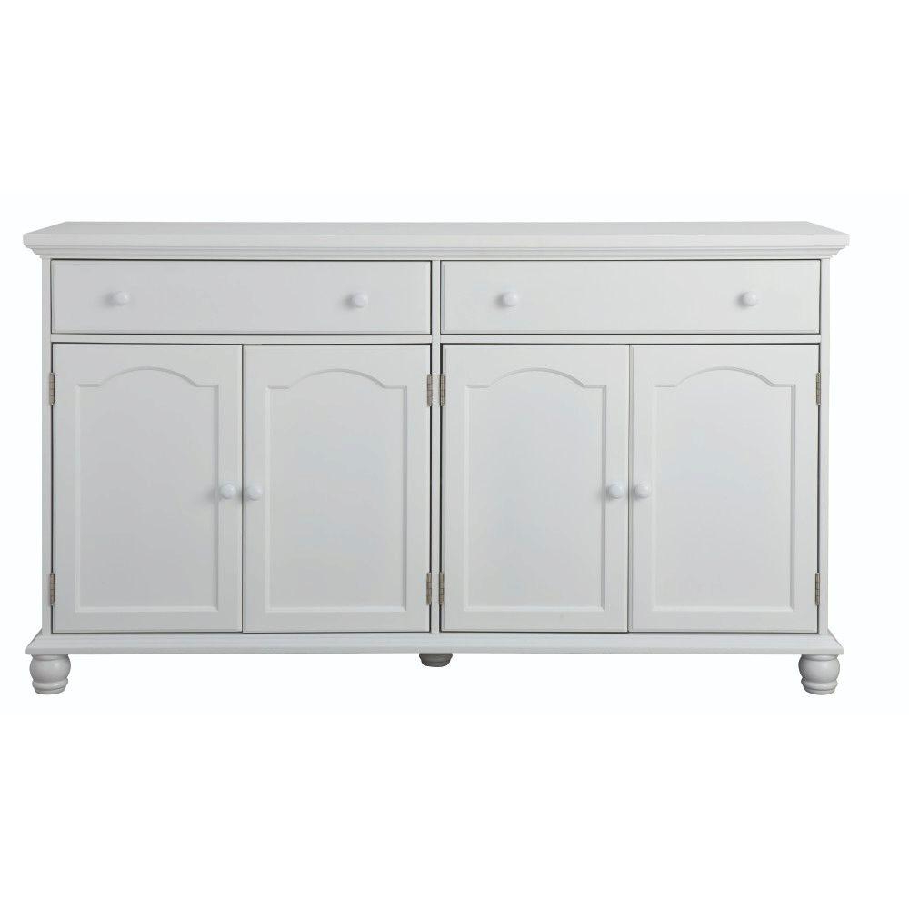Famous Vintage Finish 4 Door Sideboards Within Home Decorators Collection Harwick Antique White Buffet Bf 23034 Wh (Gallery 8 of 20)