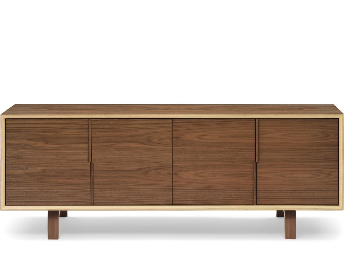 Famous Walnut Finish 4 Door Sideboards With Cherner 4 Door Credenza (View 6 of 20)