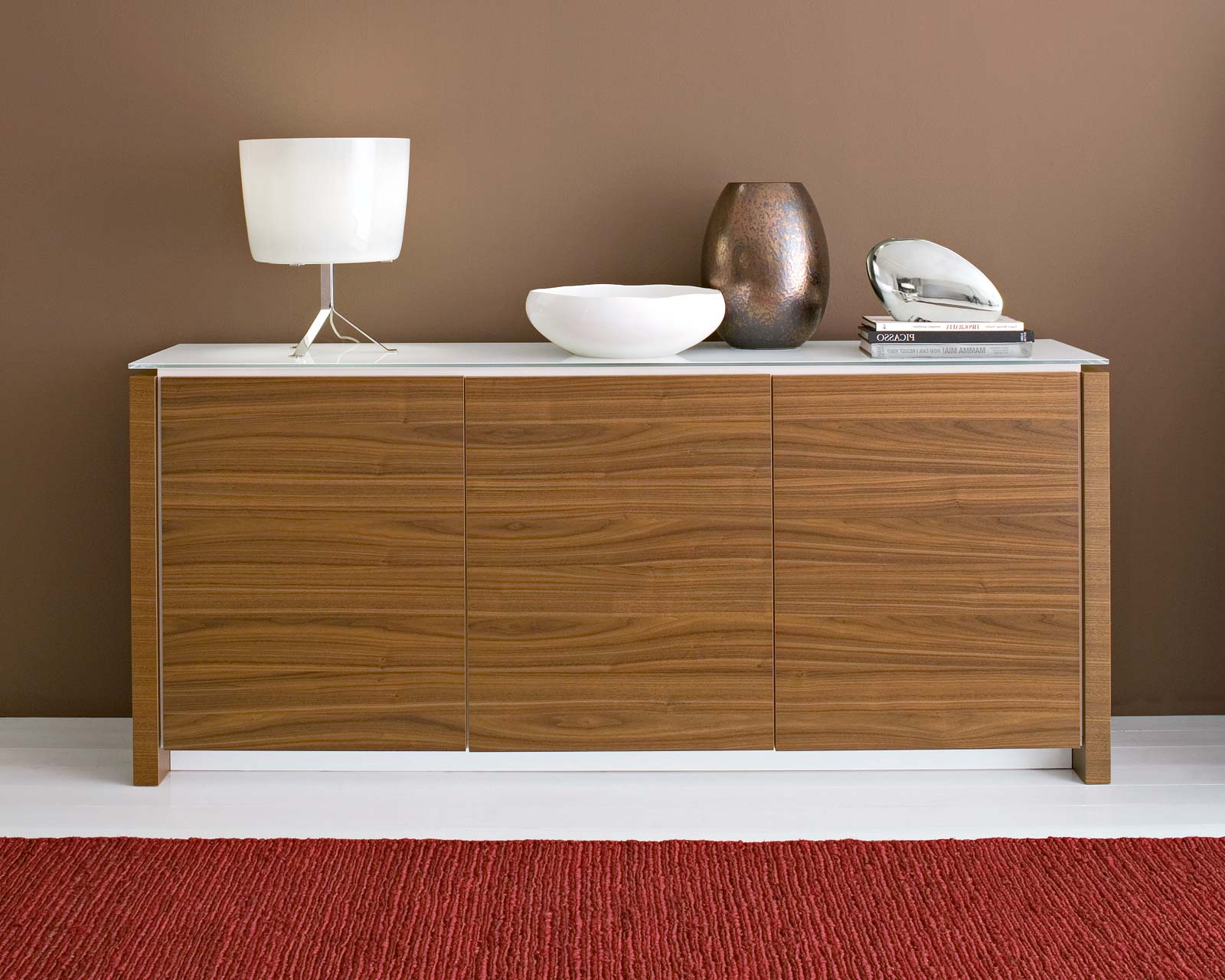 Famous Walnut Finish Contempo Sideboards Regarding Cool Sideboard Decorating With Reclaimed Wood Material And White (View 5 of 20)