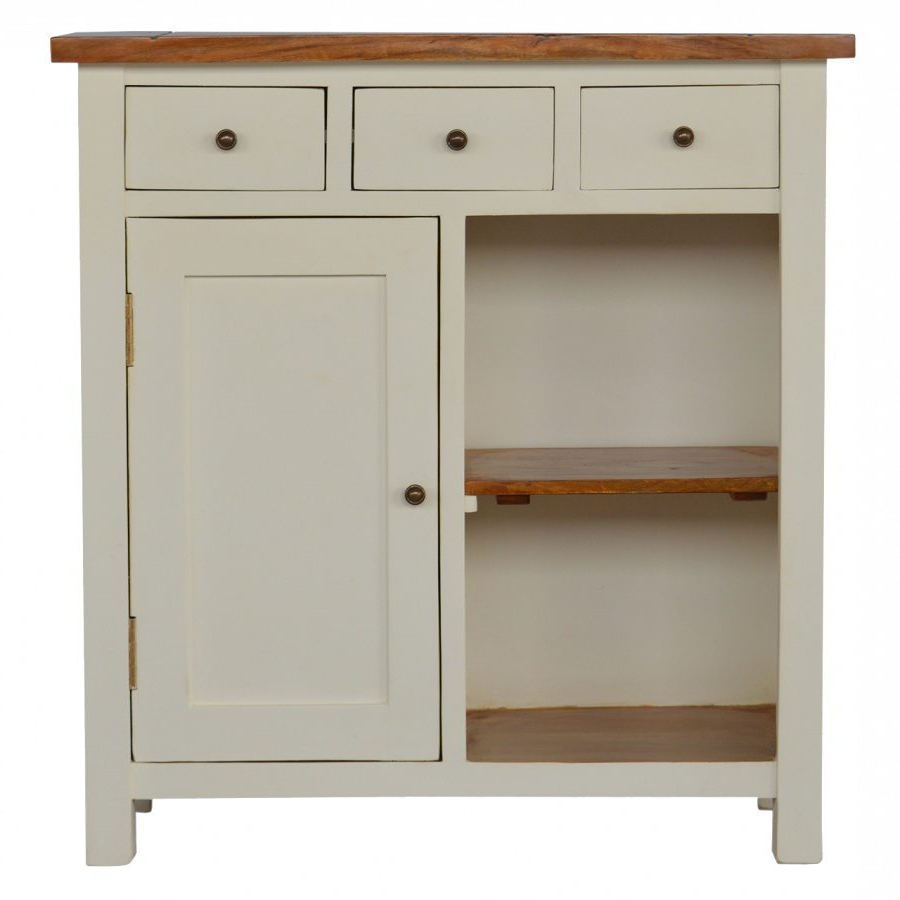Fashionable 2 Toned Painted Wood Kitchen Unit – 3 Drawers & 1 Door – Lm Furnishings Throughout Open Shelf Brass 4 Drawer Sideboards (View 3 of 20)
