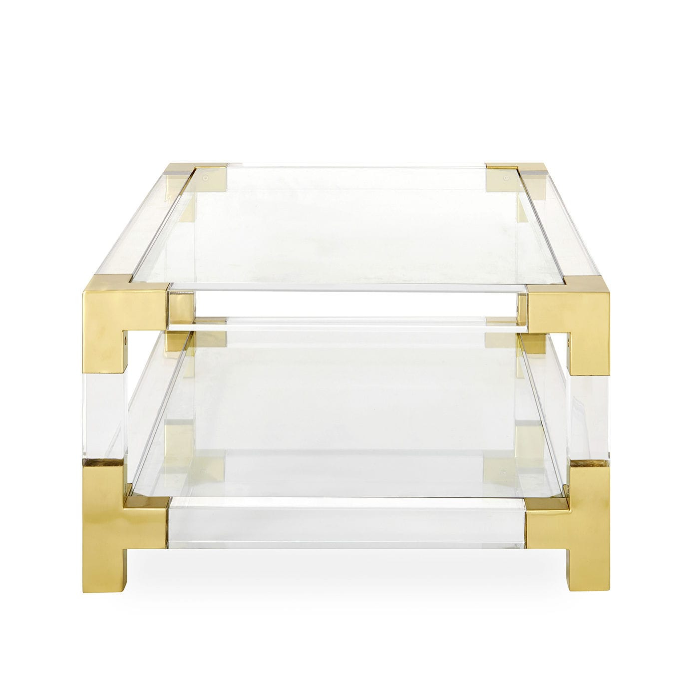 Fashionable Acrylic & Brushed Brass Coffee Tables With Regard To Contemporary Coffee Table / Glass / Brushed Brass / Acrylic (View 9 of 20)