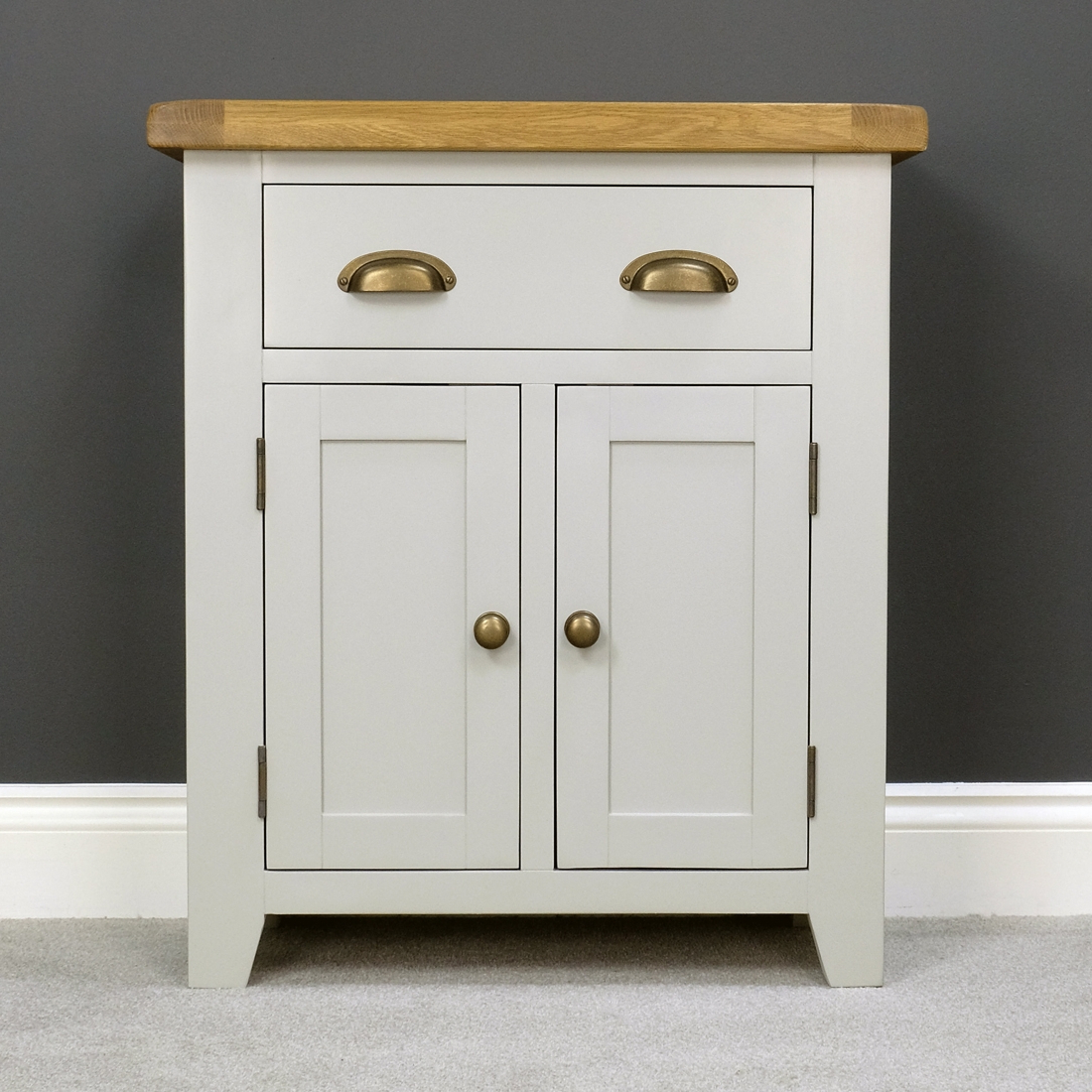 Fashionable Aged Pine 3 Drawer 2 Door Sideboards Within Arklow Painted Oak Sideboard / Solid Small 2 Door 1 Drawer Cupboard (Gallery 19 of 20)