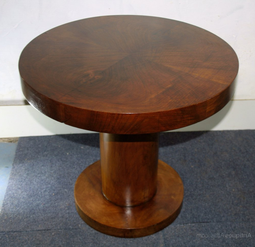 Fashionable Art Deco Circular Walnut Coffee Table Pedestal – Antiques Atlas In Antiqued Art Deco Coffee Tables (View 9 of 20)
