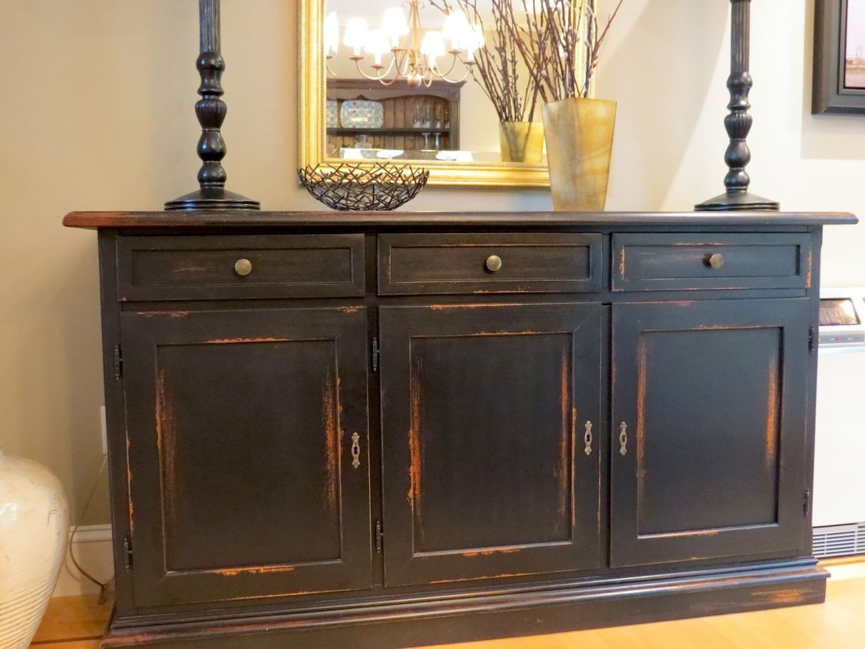Fashionable Black Oak Wood And Wrought Iron Sideboards In Distressed Sideboard Black : Rocket Uncle – Easy Diy Distressed (View 16 of 20)