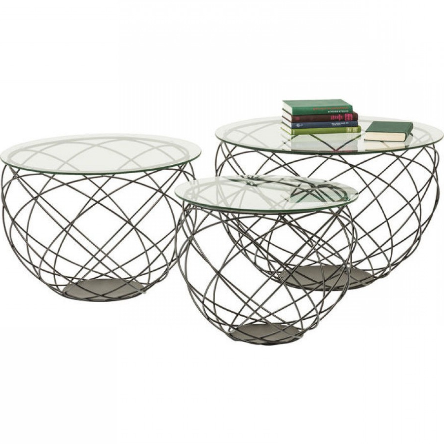 Fashionable Black Wire Coffee Tables For Coffee Table Wire Grid Black (3/set) (View 6 of 20)