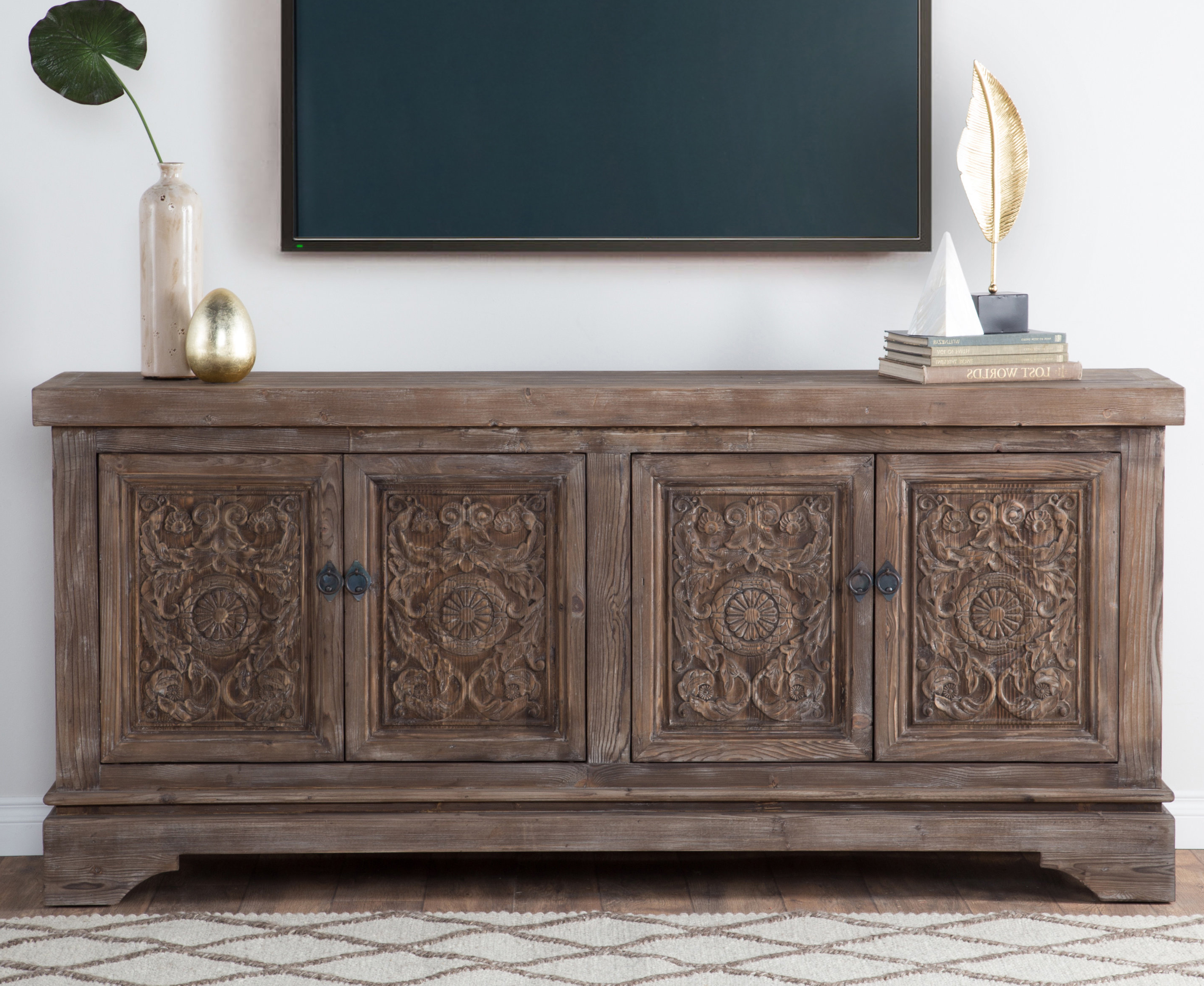 Fashionable Bungalow Rose Steinhatchee Reclaimed Pine 4 Door Sideboard & Reviews Within Carved 4 Door Metal Frame Sideboards (View 8 of 20)
