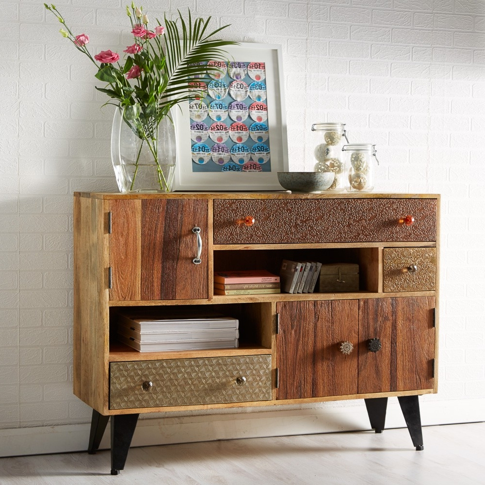 Fashionable Buy Indian Hub Sorio 3 Door 3 Drawer Small Sideboard Online – Cfs Uk Pertaining To Industrial 3 Drawer 3 Door Sideboards (Gallery 15 of 20)