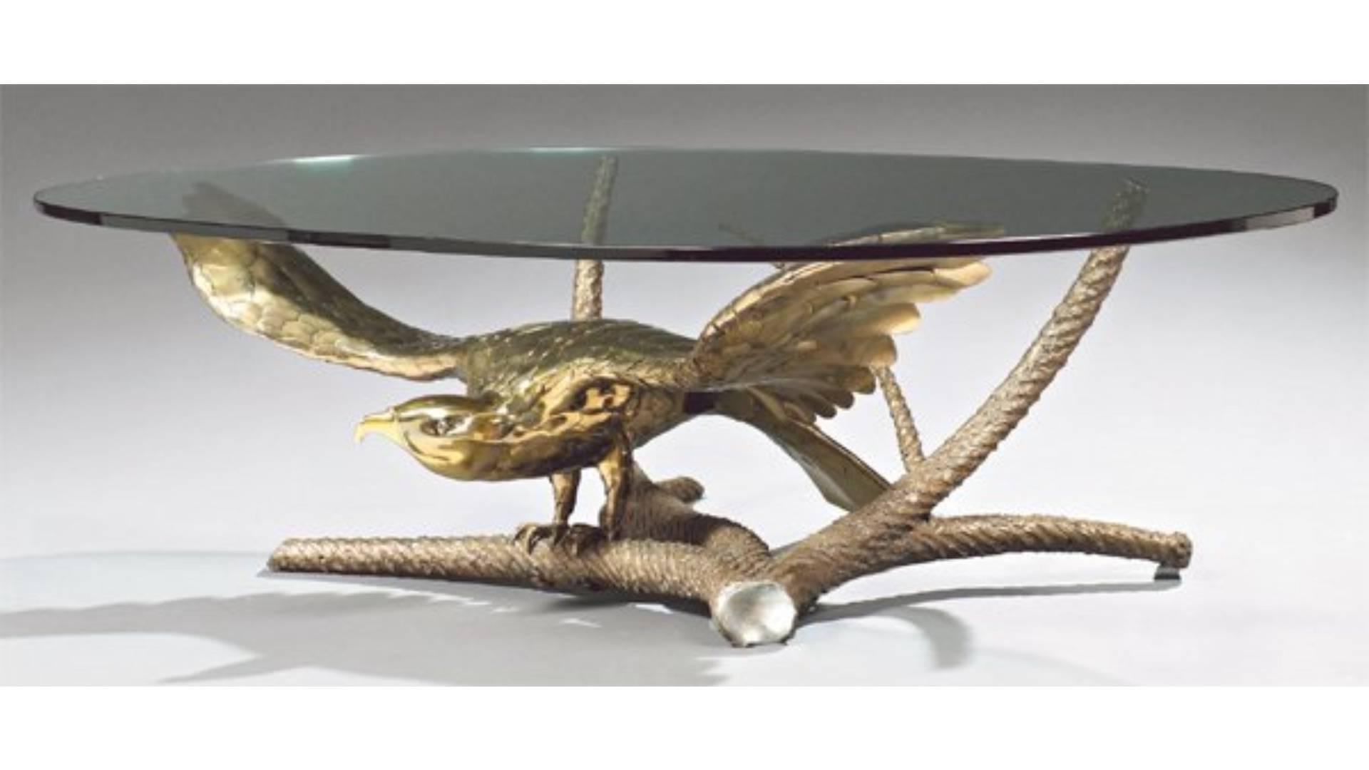 "Fashionable Cacti Brass Coffee Tables Regarding Alain Chervet, Coffee Table ""eagle Spreading Its Wings"" At 1Stdibs (Gallery 4 of 20)"