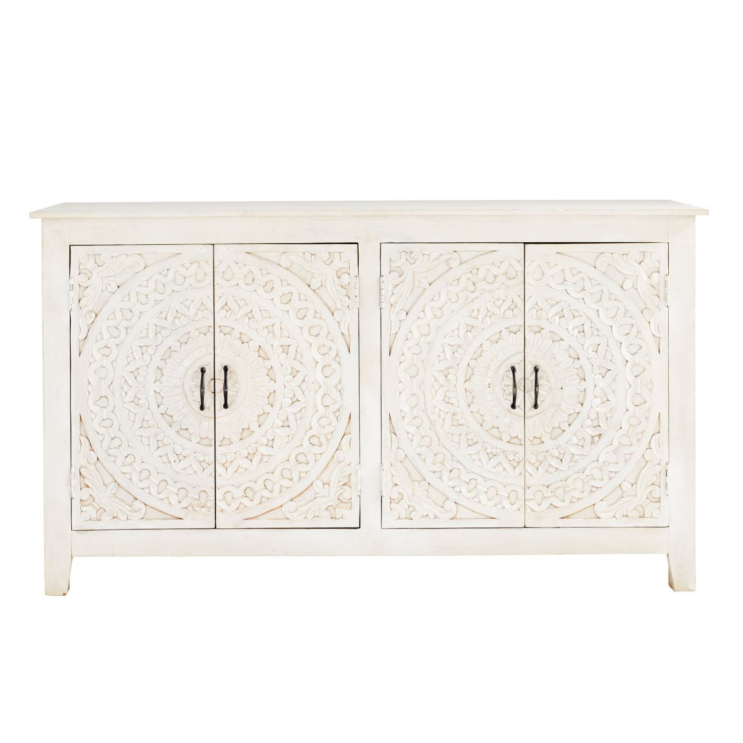 Fashionable Carved White Solid Mango Wood 4 Door Sideboard (Gallery 3 of 20)